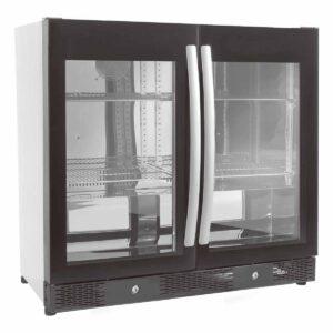 Backbar - Barkøleskab - 2 låger - Sort, stor glaslåge - 198 liter