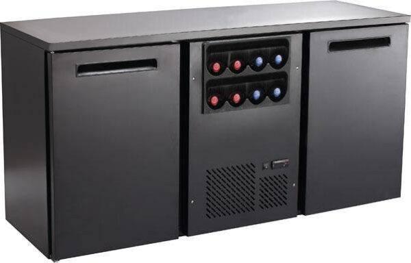 Backbar - Barkøleskab - 2 låger og vinkøler - Sort - 376 liter