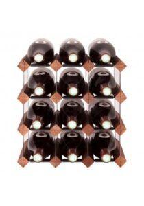 Mensolas - mørkbejdset fyrretræ - 12 flasker