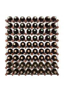 Mensolas - mørkbejdset fyrretræ - 72 flasker