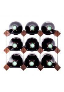 Mensolas - mørkbejdset fyrretræ - 9 flasker