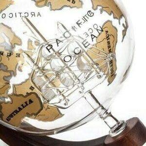 Vintage Globe Decanter Gold Ship Mixology