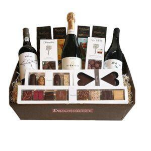 Gavekurv - Storslået økologisk kurv med vin, portvin og chokolade