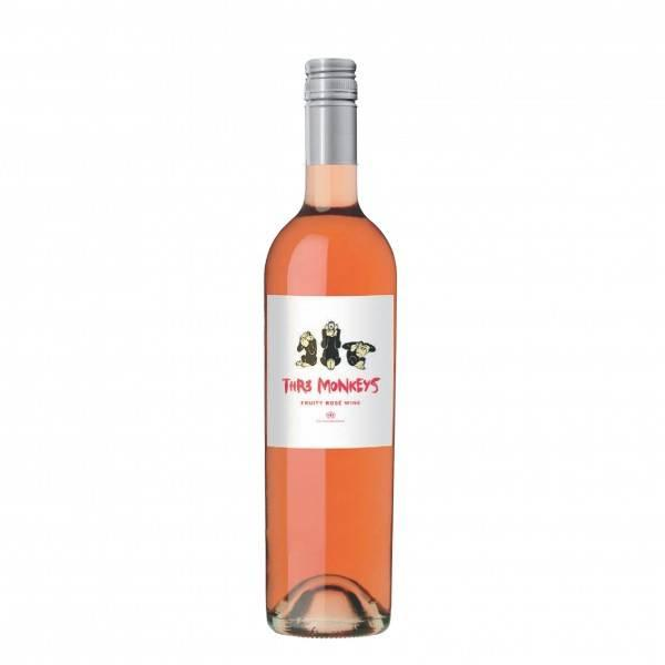 THR3 Monkeys Fruity Rose Wine 12% 75 cl