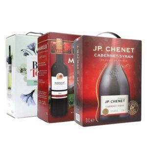 Makulu Cape Red 13% 3l + Black Tower Fruity White 9.5% 3l + J.P. Chenet Cabernet/Syrah 12,5% 3l