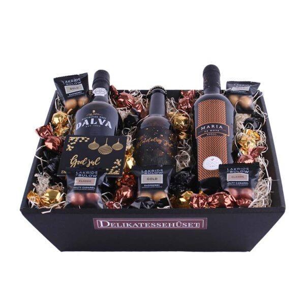 Julekurv - overdådig gavekurv med Rødvin, Portvin & Juleøl