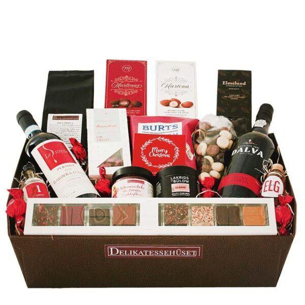 Julekurv - stor rød julekurv med rødvin, portvin og chokolade